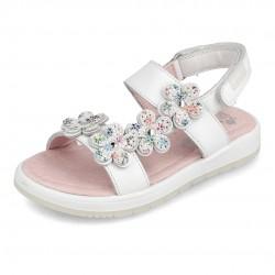 Sandalias para niña con flores, de Garvalín