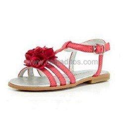 Sandalias de napa con flor color rojo, de Conguitos