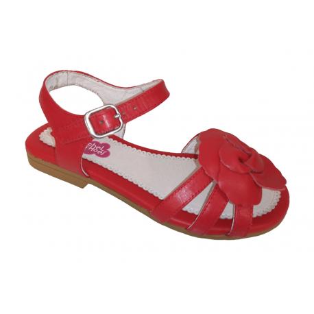 Sandalias de piel con flor de Rachel Shoes