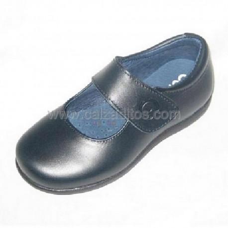 Zapatos colegiales azul marino de niña con velcro, de Conguitos