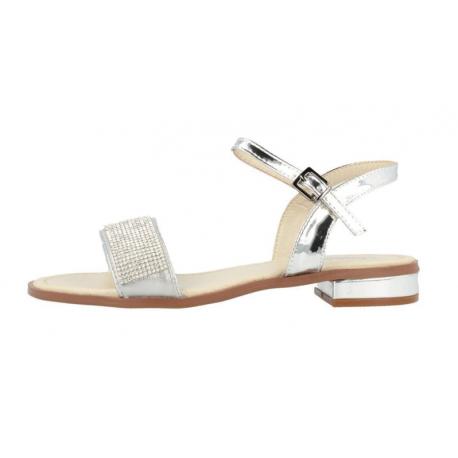 Sandalias de piel sintética de color plata con strass, de Fresas con Nata by Conguitos