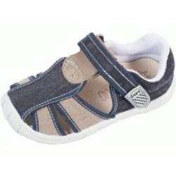 Sandalias de lona en azul marino y taupé acolchadas con velcro, de Lonettes Zapy for kids