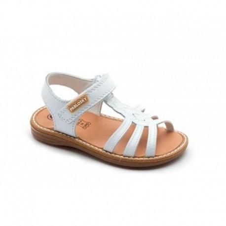 Sandalias de piel blanca con velcros, de Pablosky
