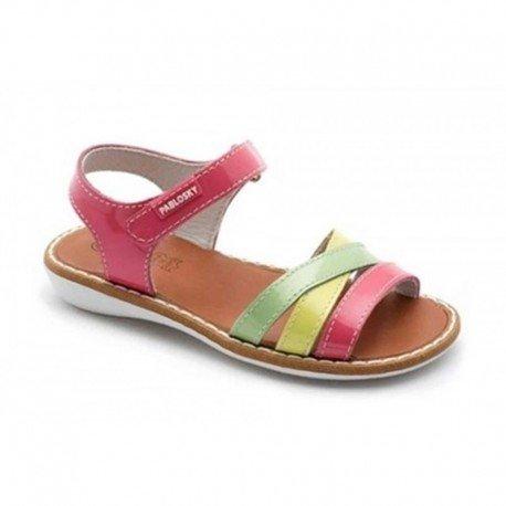 Sandalias de piel de charol nácar tricolor con velcro, de Pablosky