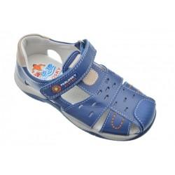 Sandalias de piel azul para niño con velcro, de Pablosky