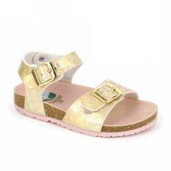 Sandalias para niña en dorado con piso bio y hebillas, de Pablosky