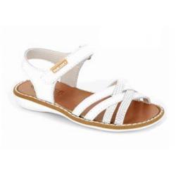 Sandalias de piel blanca cuatro tiras para niña, de Pablosky