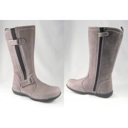 Botas  de caña alta en piel nobuck gris para niña/chica, de Andanines