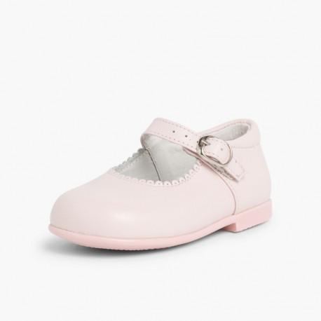 Merceditas clásicas de napa rosa con hebilla, de D'Bebé