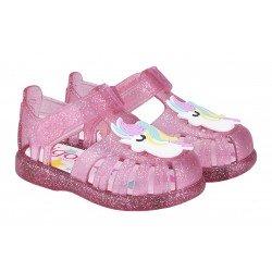 Sandalias de agua en goma con velcro modelo Tobby unicornio, de Igor