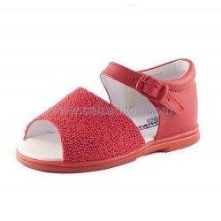 """Sandalias de piel rojas con """"caviar"""" de Cucada de Eli"""