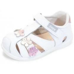 Sandalias para niña con flores y velcro de Zapy