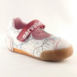 Zapatos de piel para niña blanco y rojo de Garvalín