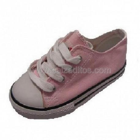 Zapatillas de lona tipo basket en bajo rosas, de Victoria