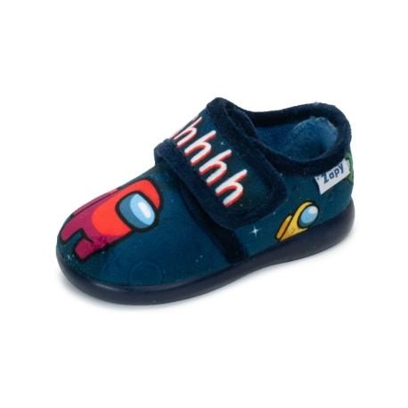 Zapatillas de estar en casa para niño grises de Robots con velcro, de Zapy