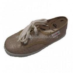 Zapatillas de lona marrones con plata, de Victoria