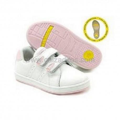 Deportivas colegiales piel en blanco-rosa para niña con velcros, de Conguitos