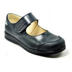 Zapatos colegiales en piel azul marino para niña con velcro, de Angelitos