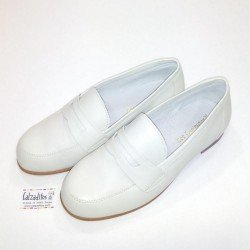 Mocasines de piel beige, zapatos de Comunión o vestir para niño