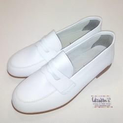 Mocasines de piel blanca, zapatos de Comunión o vestir para niño