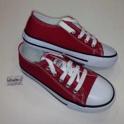 Zapatillas de lona roja tipo basket bajas con puntera, de Badboy