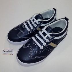 Zapatillas de napa azul marino con elástico, de Conguitos