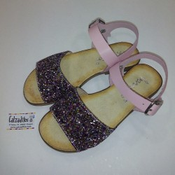 Sandalias de piel rosa y gliter multicolor con hebilla, de Barritos