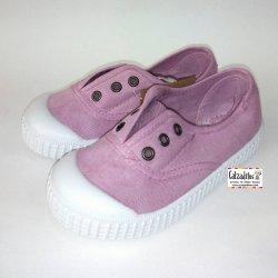 Zapatillas de lona en color rosa maquillaje con efecto deslavado, de Lonettes Zapy