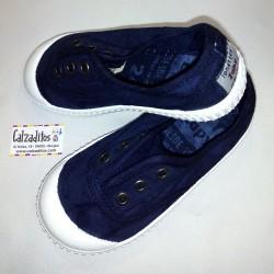 Zapatillas de lona en color marino (jeans) con efecto deslavado, de Lonettes Zapy