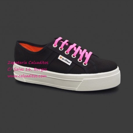 Zapatillas de lona negra University con suela doble, de BrixBol