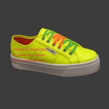 Zapatillas napa flúor sintética amarillo Bright Start con suela doble, de BrixBol