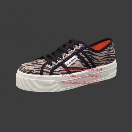 Zapatillas de lona con estampado de cebra con suela doble, de BrixBol