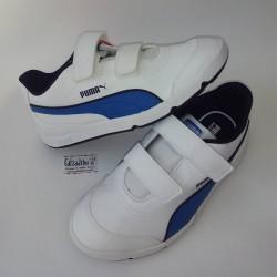 Deportivos de napa sintética blanca con azul, de Puma