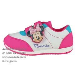 Deportivos de napa sintética blanca con rosa de Minnie Mouse, de Disney