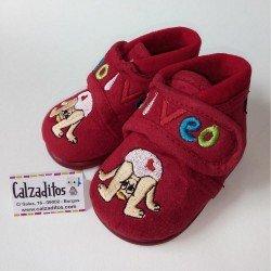Zapatillas de estar en casa rojas con velcro, de Pelines