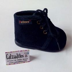 Zapatillas de estar en casa de paño azul marino con cordones, de Pelines
