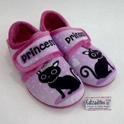 Zapatillas para estar en casa rosas de gatito con velcro, de Zapy