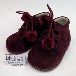 Botas inglesas de bebé en ante burdeos con cordones, de Baby Style