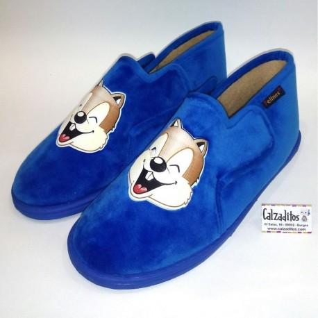 Zapatillas para estar en casa de textil azul, de Pelines