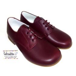Zapato tipo blucher en piel lisa burdeos, de Baby Style