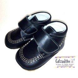 Botitas para bebé unisex en piel azul marino, de Aladino Shoes
