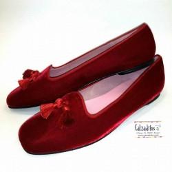 Mocasines para mujer en terciopelo rojo, de Ruth's Secret Girl
