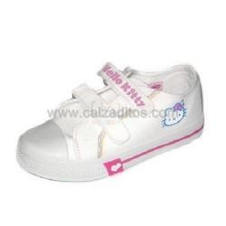 Zapatillas de lona blancas de Hello Kitty con dos velcros