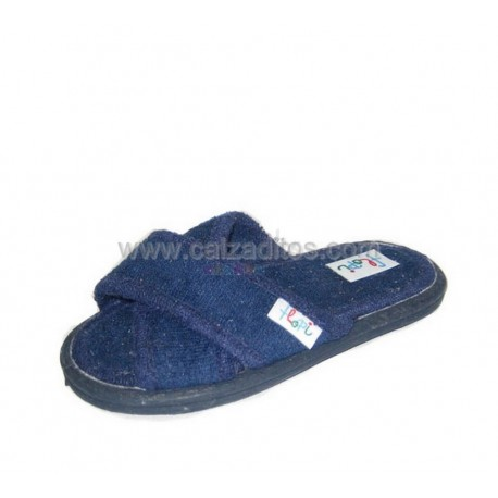 Pantuflas de toallita azul marino, marca Flopi