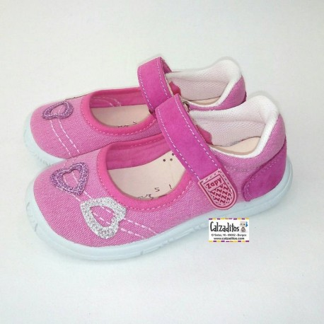Merceditas de lona en color rosa chicle acolchadas con velcro, de Lonettes Zapy for girls