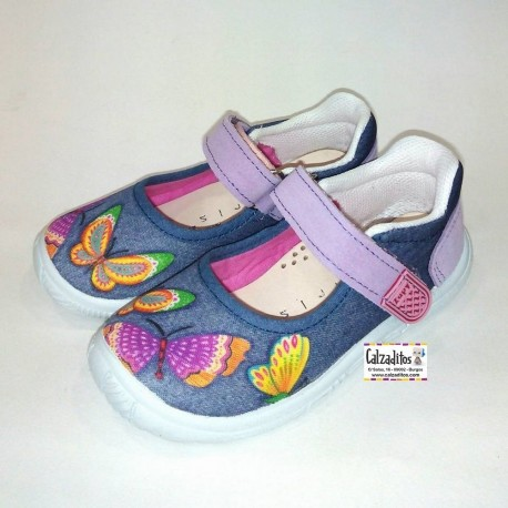 Merceditas de textil azul con estampado de mariposas, de Lonettes Zapy for girls