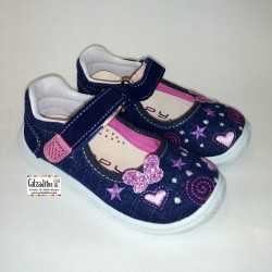 Merceditas de lona jeans azul con bordados y velcro, de Lonettes Zapy for girls