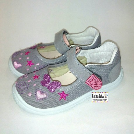 Merceditas de lona gris con bordados y velcro, de Lonettes Zapy for girls
