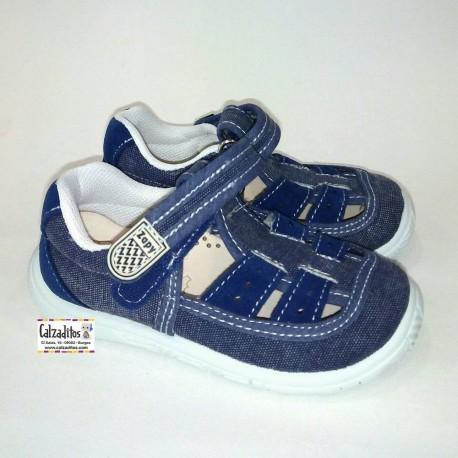 Sandalias de lona jeans azul acolchadas con velcro, de Lonettes Zapy for kids