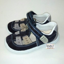 Sandalias de lona jeans azul marino acolchadas con velcro, de Lonettes Zapy for kids